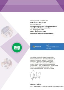 Microsoft Authorized Education Partner 2017/2018