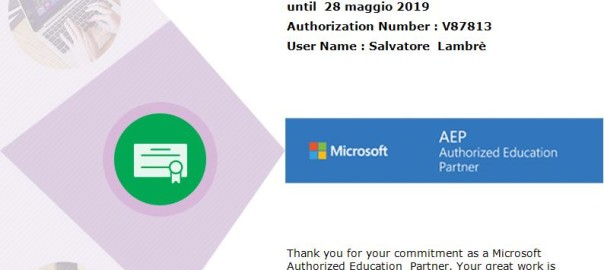 Microsoft Authorized Education Partner 2018/2019